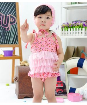 Cherry Blossoms Flower Print Sleeveless Swim Top With Cap & Bloomer - Pink