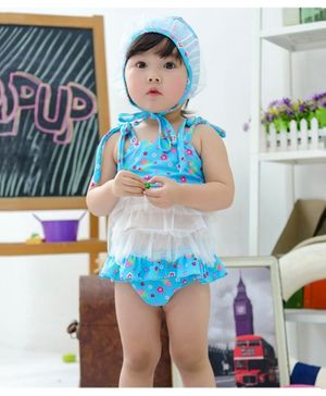 Cherry Blossoms Flower Print Sleeveless Swim Top With Cap & Bloomer - Blue