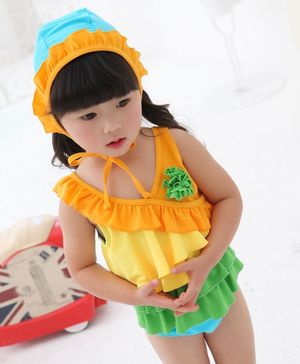 Cherry Blossoms Flower Applique Ruffled Sleeveless Swimsuit With Cap - Yellow