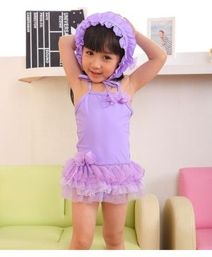 Cherry Blossoms Tulle Ruffled Sleeveless Swimsuit With Cap - Purple