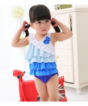 Cherry Blossoms Flower Decorated Sleeveless Ruffled Swimsuit - White & Blue