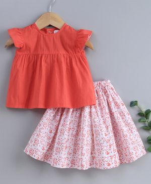 Keebee Organic Cotton Cap Sleeves Top With Printed With Floor Length Skirt Set - Coral & White