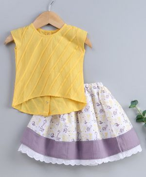 Keebee Organics Cotton Solid Sleeveless Top With Floor Length Skirt Set - Yellow & Grey