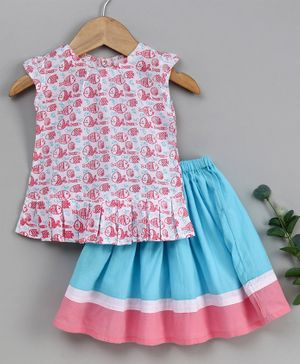 Keebee Organics Cotton Fish Print Sleeveless Top & Floor Length Skirt Set - Pink & Blue