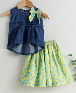 Keebee Organic Sleeveless Cotton Denim Top With Fish Printed Floor Length Skirt Set - Blue & Green