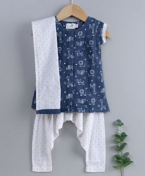Keebee Organics Cotton Cap Sleeves Animal Print Kurta With Salwar & Dupatta - Blue White