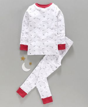 Keebee Organics Cotton Paper Rocket Full Sleeve Night Suit - White & Red