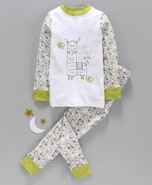 Keebee Organics Cotton Cute Llama Print Full Sleeves Night Suit - White