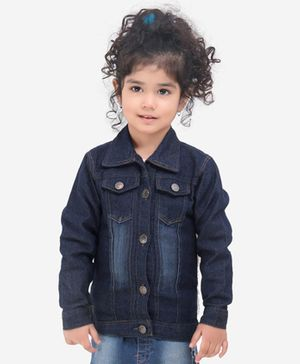 Lilpicks Couture Back Flamingo Patch Applique Full Sleeves Jacket - Blue