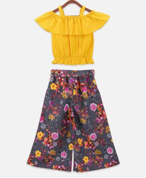 Lilpicks Couture Off Shoulder Short Sleeves Top & Floral Print Culottes Set - Yellow & Grey