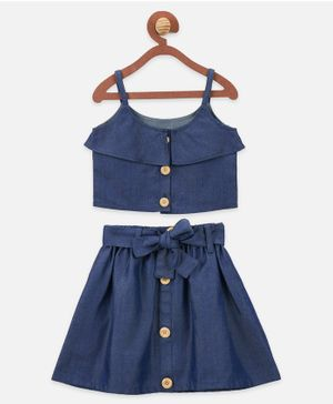 Lilpicks Couture Sleeveless Buttoned Knot Detailed Top With Skirt - Blue