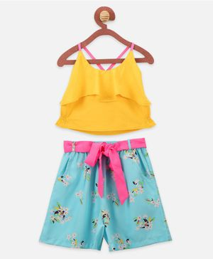 Lilpicks Couture Sleeveless Crop Top With Flower Print Shorts - Yellow Blue