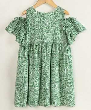 Little LABS Flower Print Half Sleeves Dress - Green