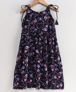 Little LABS Flower Print Sleeveless Dress - Navy Blue