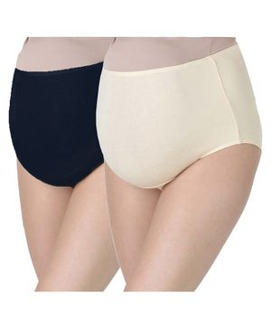 Morph Maternity Pack Of 2 Maternity Panties - Navy Blue & Cream