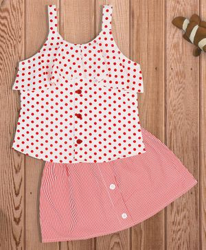 oui oui Sleeveless Polka Dot Print Top With Skirt - Red