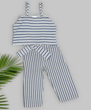 oui oui Sleeveless Striped Top With Pants - Blue