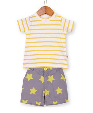 Nino Bambino Organic Cotton Striped Half Sleeves Tee & Star Printed Shorts - Yellow & Grey