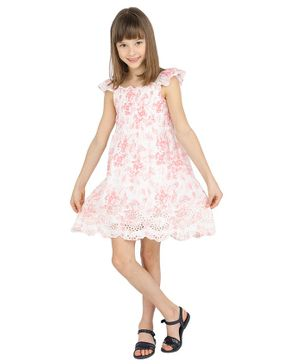 One Friday Sleeveless Flower Printed Flared Dress - Off White