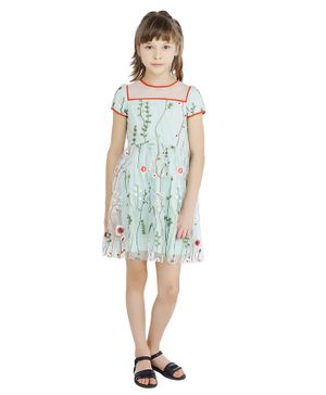 One Friday Short Sleeves Flower Embroidered Tulle Dress - Mint Green