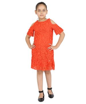 One Friday Cold Shoulder Half Sleeves Flower Lace Detailed Dress - Orange