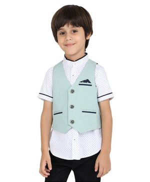 One Friday Sleeveless Front Pocket Waistcoat - Mint Green