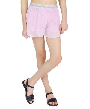 One Friday Solid Pleated Skirts - Pink