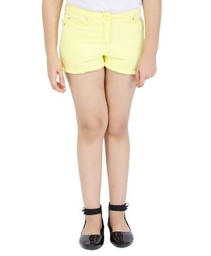 One Friday Solid Frilled Shorts - Yellow