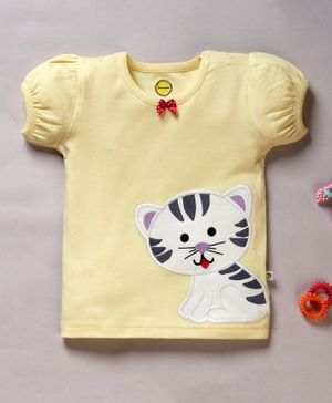 Pranava Organic Cotton Short Puff Sleeves Cat Patch Top - Yellow