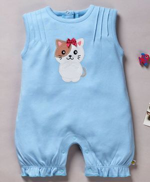 Pranava Organic Cotton Sleeveless Kitty Patch Romper - Blue
