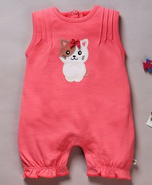 Pranava Organic Cotton Sleeveless Kitty Patch Romper - Peach