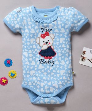 Pranava Organic Cotton Short Sleeves Heart Print Onesie - Blue