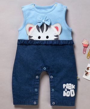 Pranava Organic Cotton Sleeveless Cat Design Romper - Blue