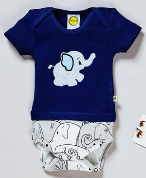 Pranava Organic Cotton Half Sleeves Elephant Patch Detailed Onesie - Navy Blue & Grey