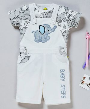 Pranava Organic Cotton Half Sleeves Tee With Elephant Patch Detailing Dungaree - White & Grey