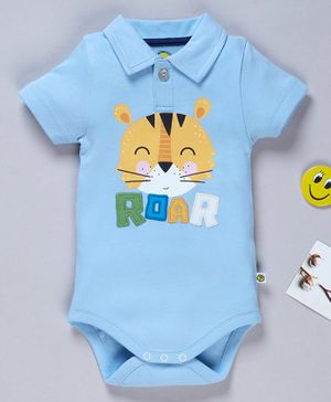 Pranava Organic Cotton Half Sleeves Tiger Printed Onesie - Sky Blue