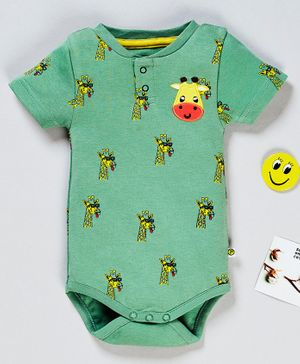 Pranava Organic Cotton Half Sleeves All Over Giraffe Printed Onesie - Green