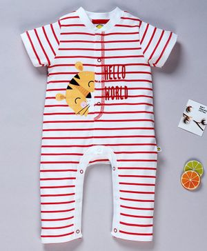 Pranava Organic Cotton Half Sleeves Striped Romper - Red & White