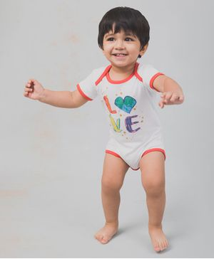 Nap Chief Organic Cotton Short Sleeves Love Print Onesie - White