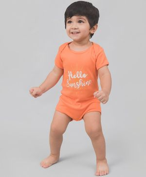 Nap Chief Short Sleeves Organic Cotton Hello Sunshine Print Onesie - Orange