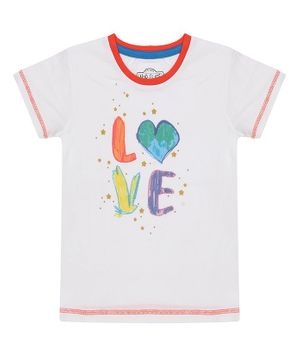 Nap Chief Organic Cotton Love Print Short Sleeves Tee - White