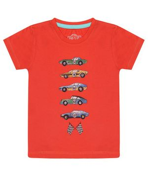 Nap Chief Organic Cotton Cars Printed Half Sleeves Tee - Orange