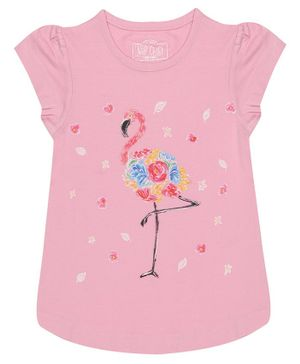 Nap Chief Organic Cotton Cap Sleeves Flamingo Printed Top - Pink