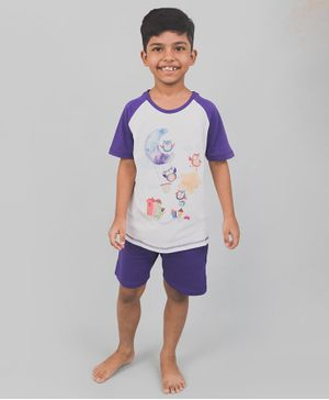 Nap Chief Organic Cotton Owl Print Half Sleeves Tee With Shorts - Blue