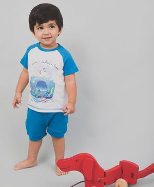 Nap Chief Organic Cotton Whale Print Half Sleeves Tee With Shorts - Blue