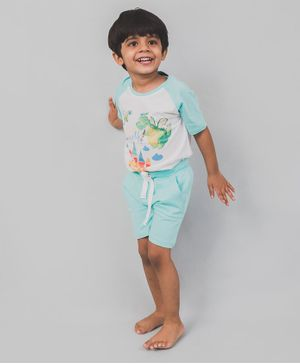 Nap Chief Organic Cotton Dragon Print Half Sleeves Tee With Shorts - Blue