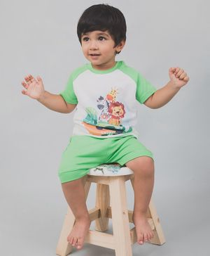 Nap Chief Organic Cotton Lion Print Half Sleeves Tee With Shorts - Green