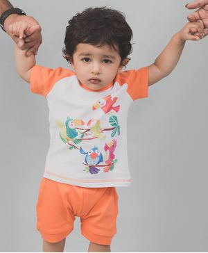 Nap Chief Organic Cotton Birds Print Half Sleeves Tee With Shorts - Orange