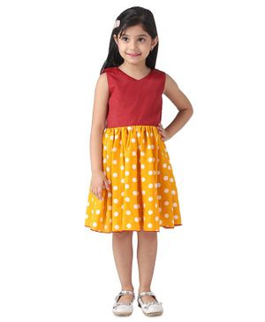 Samsara Couture Sleeveless Dots Printed Flared Dress - Red & Yellow