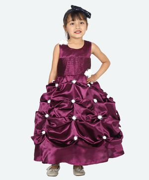 Samsara Couture Sleeveless Small Flower Detailed Flared Gown - Purple